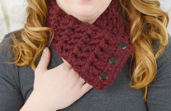 Adult Red Wine Button Scarf