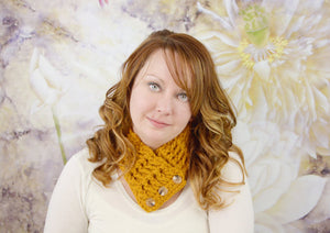 Adult Butterscotch Button Scarf