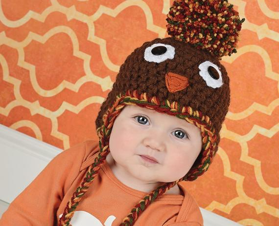 6 to 9 Month Turkey pom pom Thanksgiving Day hat | newborn, baby, toddler, child, & adult sizes