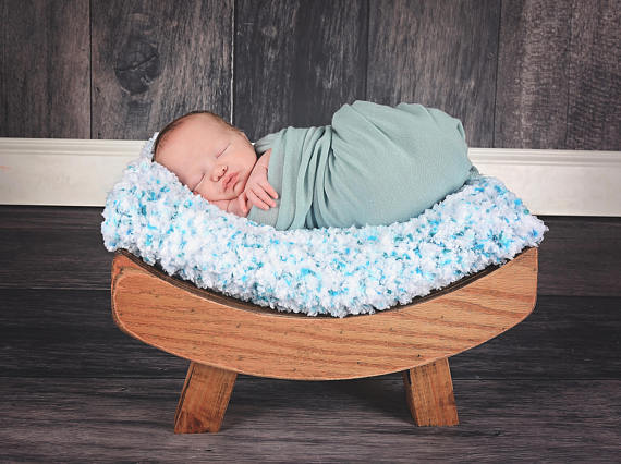 "33"" x 33"" White & Aqua Blue Cotton Candy Baby Blanket"