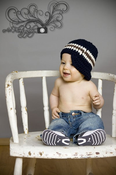 to 9 Month Navy Blue, Ecru, & Chocolate Brown Striped Visor Beanie