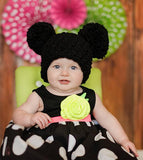 Black giant pom pom hat - newborn, baby, toddler, kid, & women's sizes