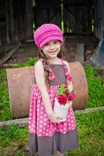 2T to 4T Toddler Girl Hot Pink Buckle Newsboy Cap