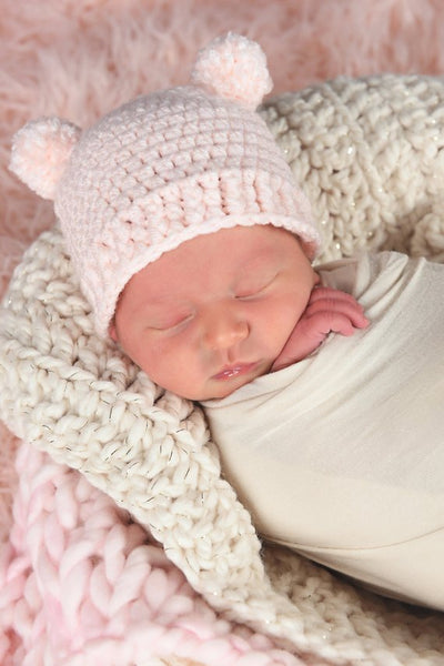 Pale Pink Mini Pom Pom Bear Hat