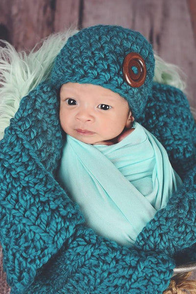 Teal | newborn photo prop layering baby blanket, basket stuffer, bucket filler
