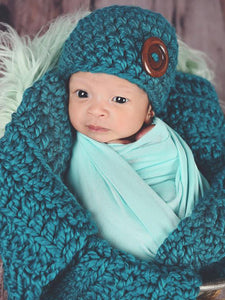 Teal | newborn photo prop layering baby blanket, basket stuffer, bucket filler by Two Seaside Babes