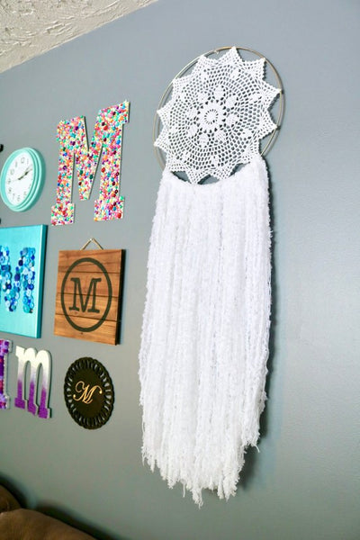 "41"" White Yarn Crochet Doily Dream Catcher"