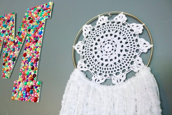 "30"" White Yarn Crochet Doily Dream Catcher"