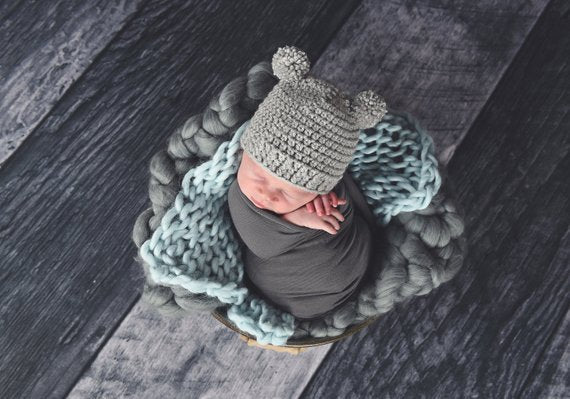 Gray Mini Pom Pom Bear Hat