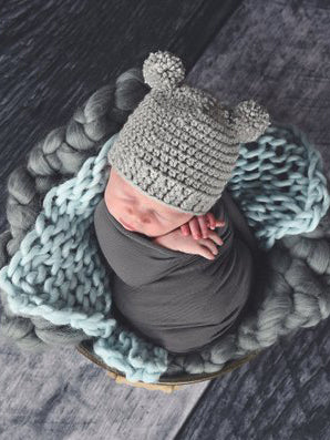 Gray Mini Pom Pom Bear Hat by Two Seaside Babes