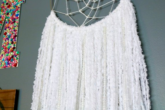 "36"" White Yarn Beaded Dream Catcher"
