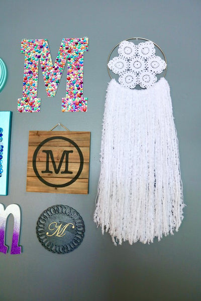 "34"" White Yarn Crochet Doily Dream Catcher"