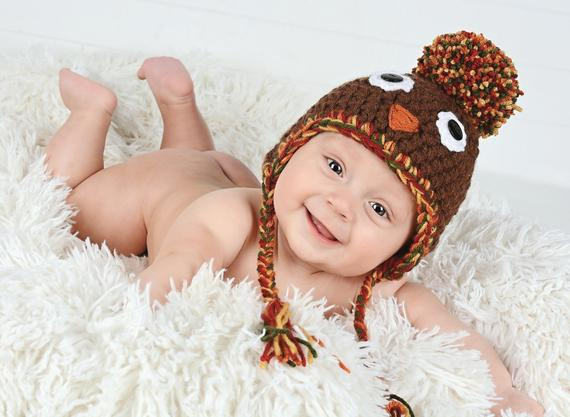 3 to 6 Month Turkey pom pom Thanksgiving Day hat | newborn, baby, toddler, child, & adult sizes