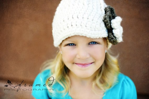 4T to Preteen Cream & Taupe | chunky crochet flower beanie, thick winter hat | baby, toddler, girl's, women's sizes