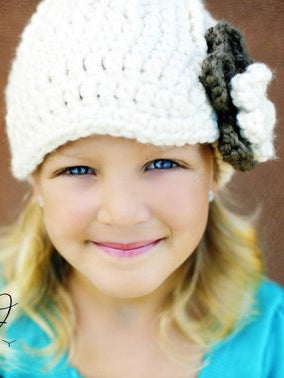 4T to Preteen Cream & Taupe | chunky crochet flower beanie, thick winter hat | baby, toddler, girl's, women's sizes by Two Seaside Babes