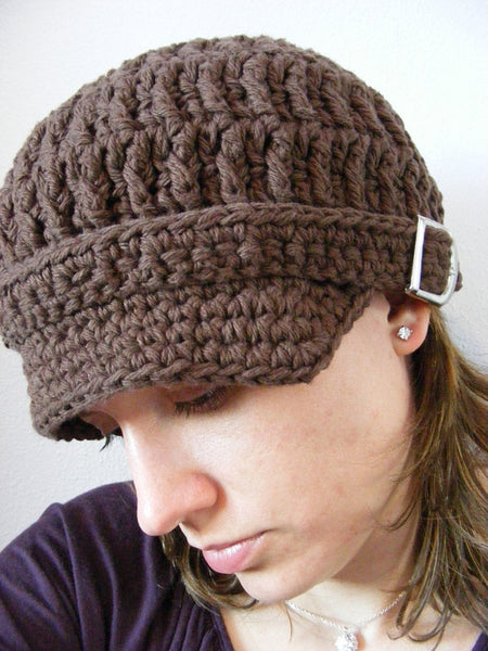 Adult Chocolate Brown Buckle Newsboy Cap