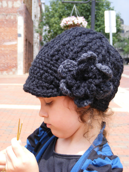 2T to 4T Black & Charcoal Gray | chunky crochet flower beanie, thick winter hat | baby, toddler, girl's, women's sizes by Two Seaside Babes
