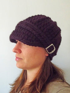 Adult Purple Eggplant Buckle Beanie by Two Seaside Babes