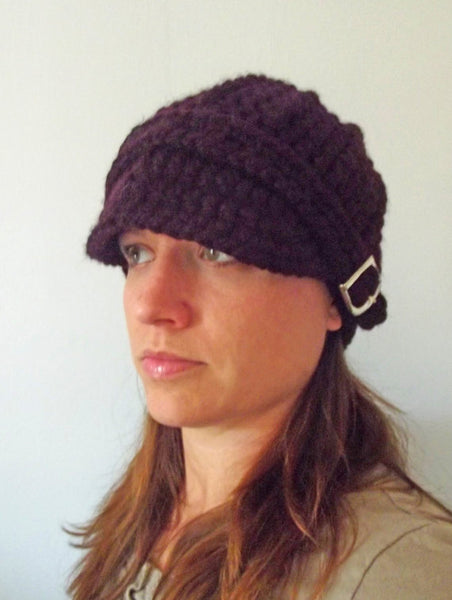 Adult Purple Eggplant Buckle Beanie