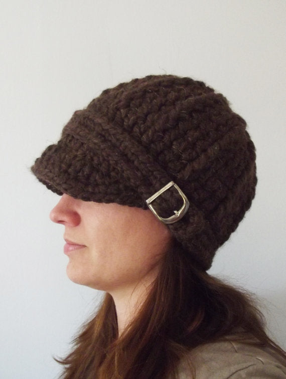 Adult Dark Brown Wood Buckle Beanie by Two Seaside Babes