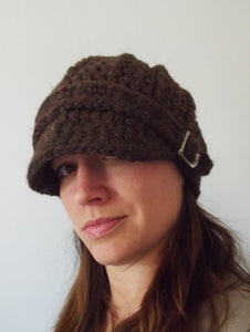 Adult Dark Brown Wood Buckle Beanie