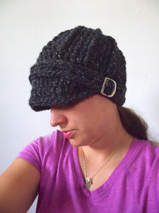 Adult Charcoal Sparkle Buckle Beanie by Two Seaside Babes