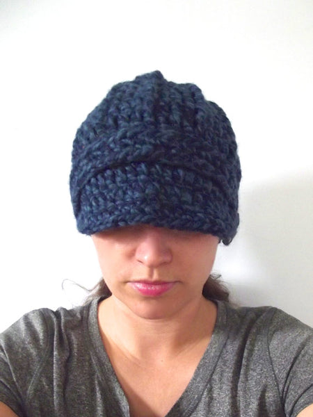 Adult Denim Twist Buckle Beanie