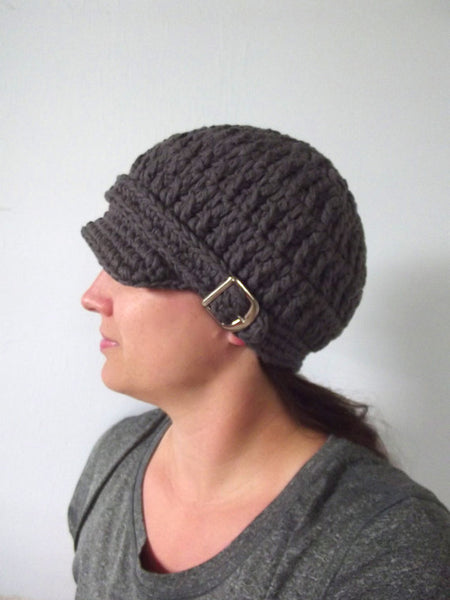 Adult Elephant Gray Buckle Newsboy Cap