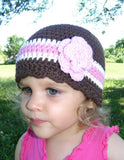 1T to 2T Brown, Cream, Pink, & Light Pink Striped Flapper Beanie