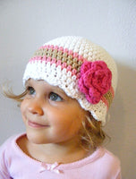 1T to 2T White, Pink, Tan, & Hot Pink Striped Flapper Beanie