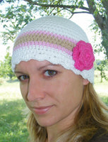 Adult White, Pink, Tan, & Hot Pink Striped Flapper Beanie