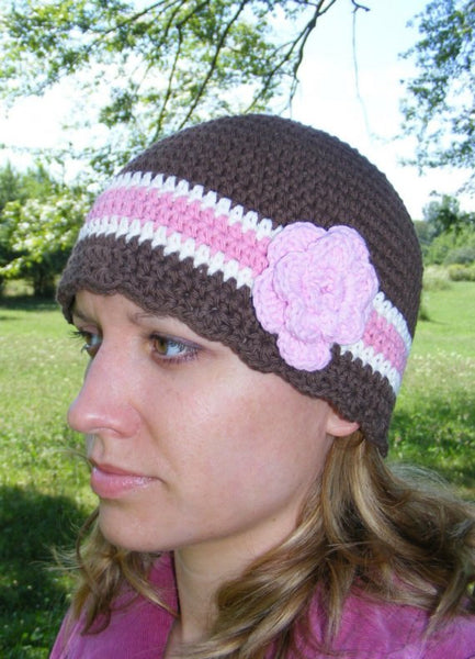 Adult Brown, Cream, Pink, & Light Pink Striped Flapper Beanie