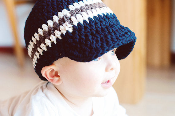 9 to 12 Month Navy Blue, Ecru, & Chocolate Brown Striped Visor Beanie