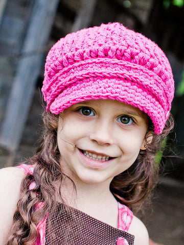 2T to 4T Toddler Girl Hot Pink Buckle Newsboy Cap by Two Seaside Babes