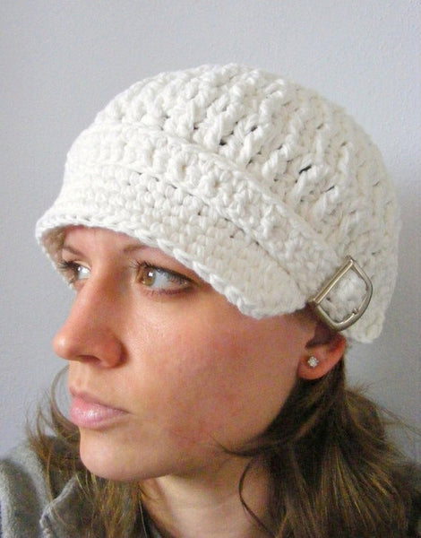 Adult White Buckle Newsboy Cap