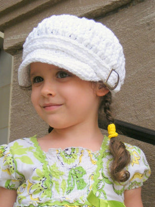 2T to 4T Toddler White Buckle Newsboy Cap by Two Seaside Babes