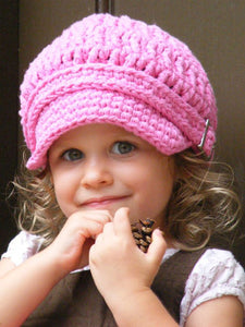 1T to 2T Toddler Girl Pink Buckle Newsboy Cap by Two Seaside Babes