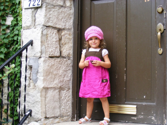 1T to 2T Toddler Girl Pink Buckle Newsboy Cap