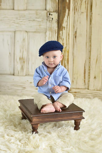 9 to 12 Month Navy Blue | Irish wool Donegal newsboy hat, flat cap, golf hat | newborn, baby, toddler, boy, & men's sizes