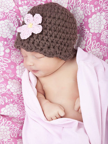 Chocolate brown flapper beanie hat | 32 flower colors available by Two Seaside Babes