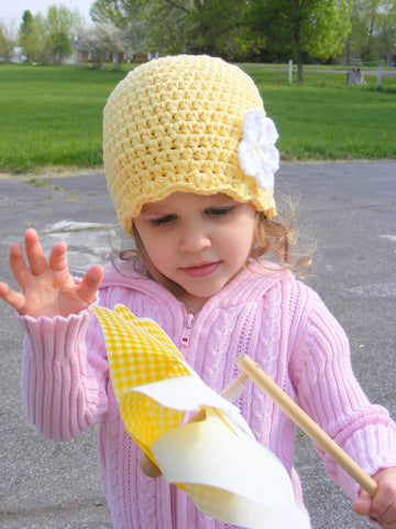 Yellow flapper beanie hat | 34 flower colors available