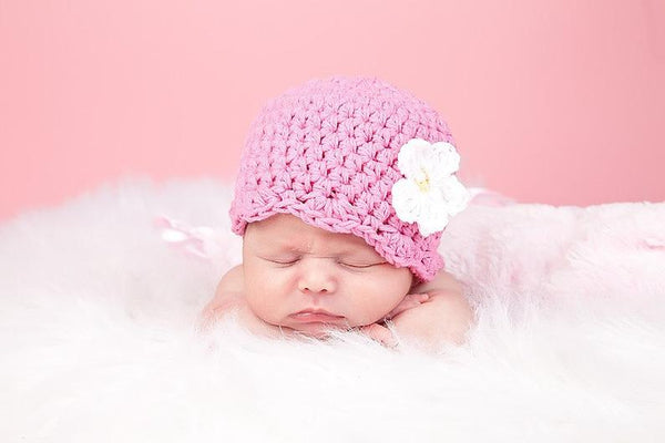 Pink flapper beanie hat | 32 flower colors available