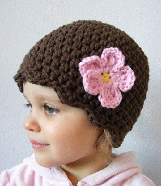 Chocolate brown flapper beanie hat | 34 flower colors available