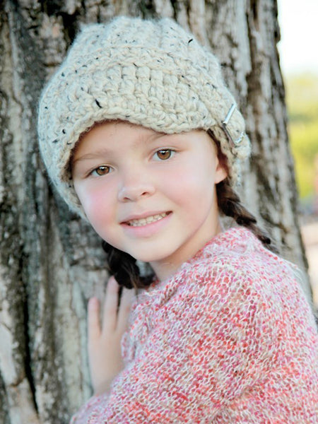 4T to Preteen Kids Oatmeal Buckle Beanie by Two Seaside Babes