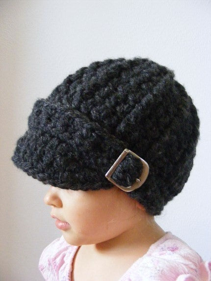 1T to 2T Toddler Charcoal Gray Buckle Beanie