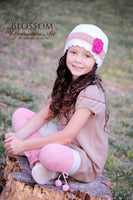 4T to Preteen White, Pink, Tan, & Hot Pink Striped Flapper Beanie