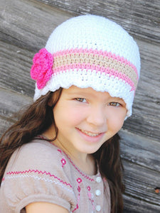 4T to Preteen White, Pink, Tan, & Hot Pink Striped Flapper Beanie by Two Seaside Babes