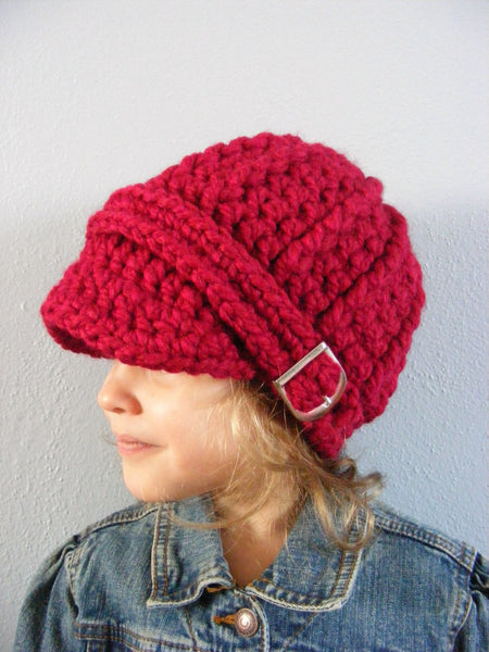 1T to 2T Toddler Cranberry Red Buckle Beanie