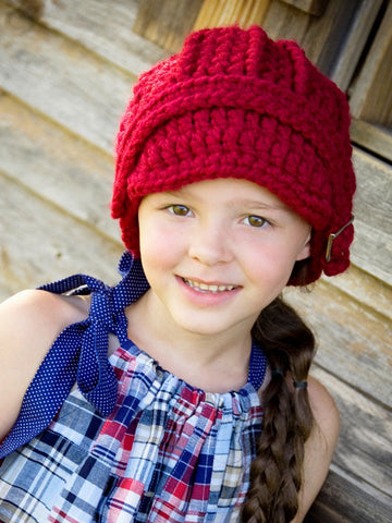 4T to Preteen Kids Cranberry Red Buckle Beanie by Two Seaside Babes