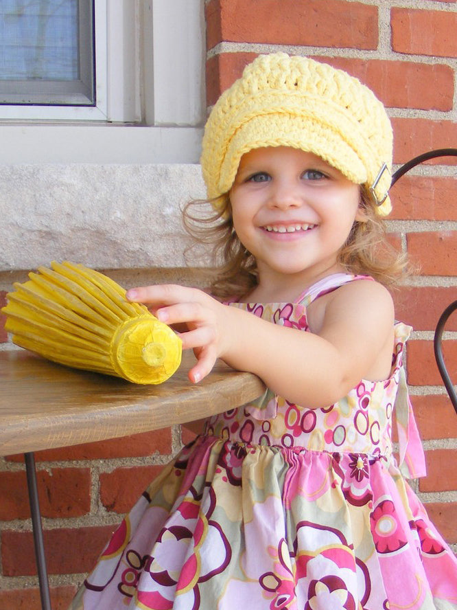 2T to 4T Yellow Buckle Newsboy Cap by Two Seaside Babes